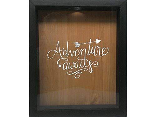 - Wicked Good Decor Wooden Shadow Box Wine Cork/Bottle Cap/Tickets 9x11 - Adventure Awaits (Ebony w/White)