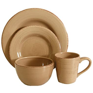 Tag Sonoma Ironstone Ceramic 16-Piece Dinnerware Set, Service for 4, Tan