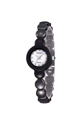 Hermosos Relojes de Ceramica Blanca Cuadro Rhinestone señoras Reloj de Ceramica Jalea Reloj de Pulsera de Mujer Espacio: Amazon.es: Relojes