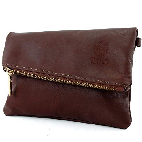 modamoda de -. ital pequeña bolsa de cuero de las señoras del bolso del bolso de embrague de la muñeca del bolso de cuero T95 Braun