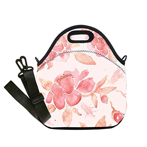 Custom Digital Printing Insulated Lunch Bag,Neoprene Lunch Tote Bags Watercolor seamless wallpaper with Peony flowers in vector Multicolor,for Adults and children waterproof Lunch Box