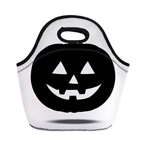 Tinmun Lunch Tote Bag Face Halloween Pumpkin Smile Symbol Abstract Autumn Bad Carving Reusable Neoprene Bags Insulated Thermal Picnic Handbag for Women Men