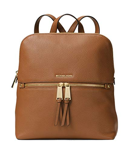 Michael Kors Rhea Medium Slim Leather Backpack- Acorn, Brown, Large