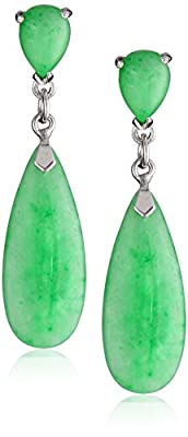 Sterling Silver Green Jade Teardrop Earrings