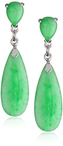 Rhodium-Plated Sterling Silver Green Jade Teardrop Earrings (Color Jade Earring)