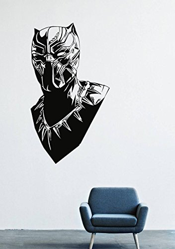 T'challa Costume (Wall Decals Decor Viny Black Panther Marvel Comics Superhero T'Challa Power Shoes Costume Mask Superpower Claws Africa Nubyyskyy Carbon Tiger Prince Charles, Mr. Luc Okonkvo Male Boy Ornament LM0697)
