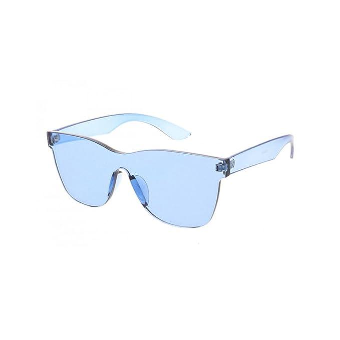 0909eb0b296 Amazon.com  Women s Sim Modern Pantone Lens Square Rimless Sunglasses  (Blue)  Clothing