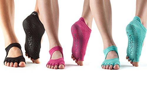 Toesox Half Toe Bellarina Grip Socks 3 Pack (Black/Raspberry/Aqua, S)