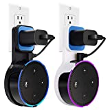 Echo Dot Wall Mount Case Holder Stand for Alexa Dot 2nd Generation TOOVREN Space-Saving Accessories for Home Speaker without Mess Wires or Screws - Short Charging Cable Included (2 pack)