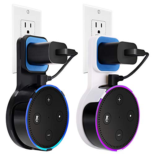 Echo Dot Wall Mount Case Holder Stand for Alexa Dot 2nd Generation TOOVREN Space-Saving Accessories for Home Speaker without Mess Wires or Screws - Short Charging Cable Included (2 pack) by TOOVREN