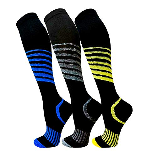 Compression Socks For Men & Women(3 Pairs)- Best For Running,Athletic,Medical,Pregnancy and Travel -15-20mmHg (L/XL, Multicoloured 12) (Benefits Of Wearing Compression Socks For Nurses)