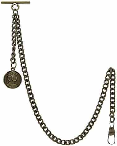 Albert Chain Pocket Watch Curb Link Chain Antique Brass Color Star Design Fob T Bar AC106