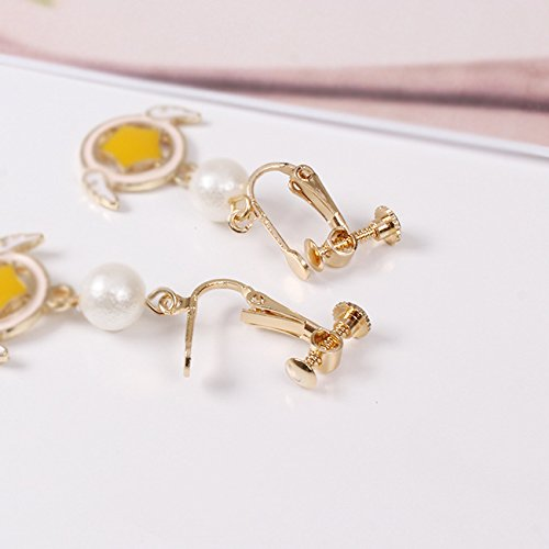Screw Back Clip on for Non Piercing Angel Wing Star Round Earring Dangle Gold Plated for Girl
