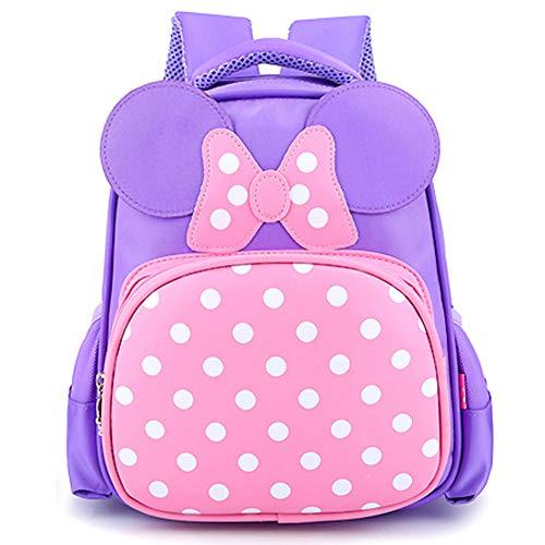 Bowknot Polka Dot Toddler Kids Schoolbag Kindergarten Backpack for Girls Boys (Violet)