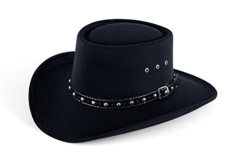 Western Faux Felt Gambler Cowboy Hat -Black L/XL (Elastic Band) (Adult Black Cowboy Hat)