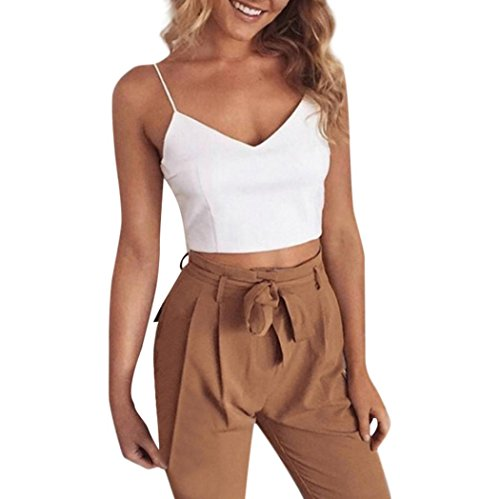 Womens 2 Pieces Outfits Sleeveless V Neck Crop