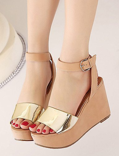 ShangYi Women's Shoes Synthetic Wedge Heel Open Toe Sandals Party  Evening / Dress Black / Pink