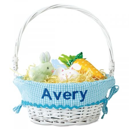 Lillian Vernon Personalized Wicker Easter Basket with Aqua Liner - Name Embroidered, 11