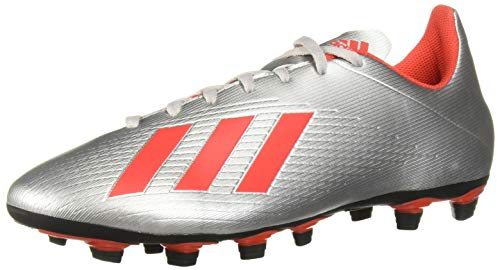 adidas Men's X 19.4 Firm Ground Soccer Shoe, Silver Metallic/hi-res red/Black, 7.5 M US