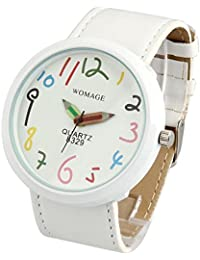 Womens White Casual Fun Watch Big Face Unisex Leather Band Reloj Para DAMA SW8329WHWH