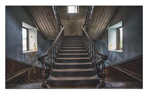 Lunarable Scary Doormat, Horror Movie Theme Classic Deserted Abandoned Home with Old Vintage Stairs Artwork, Decorative Polyester Floor Mat with Non-Skid Backing, 30 W X 18 L inches, Multicolor