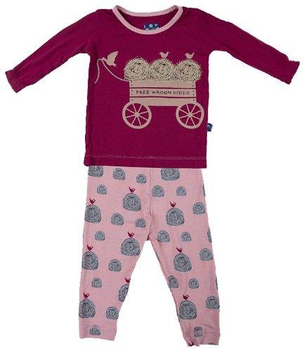 KicKee Pants Baby-girls Pajama Set, Lotus Hay Bales, 0-3 Months