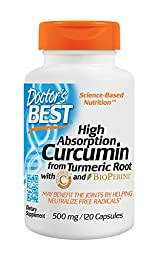 Doctor\'s Best Curcumin from Turmeric Root - High Absorption to Benefit Joints, 500mg Capsules with C3 Complex & BioPerine, 120 Count