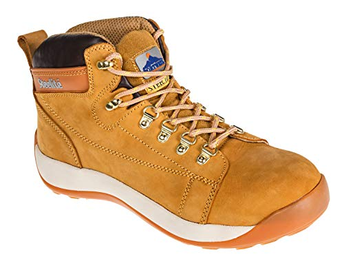 Portwest FW31HOR40 Steelite Mid Cut Nubuck Boot, US Size 7.5 Full Grain Nubuck Leather, Honey
