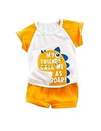 Fanteecy Boys Pajamas Cotton Shark Dinosaur Summer Short Set Toddler Clothes Kids Pjs Sleepwear 2 Pieces Short Baby Sets
