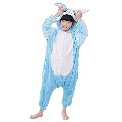 Kids Animal Onesie Pajamas Costume Cosplay for Boys Girls Child Blue Bunny M