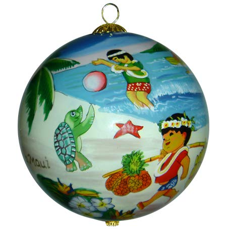 Maui By Design Adorable Hula Kids Collectible Hawaiian Ornament Hand Painted Glass with Gift Box