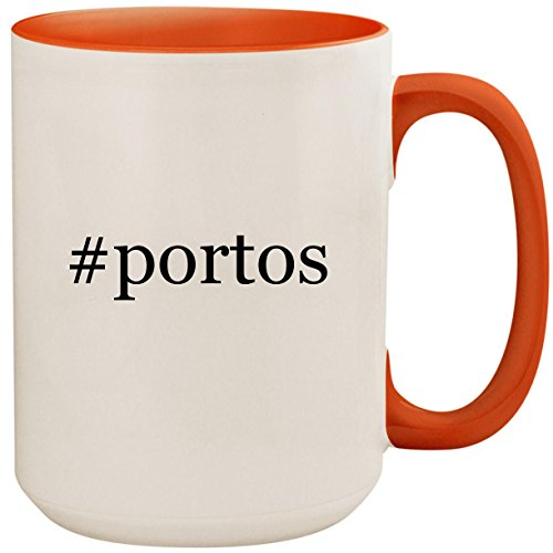 #portos - 15oz Ceramic Colored Inside and Handle Coffee Mug Cup, Orange