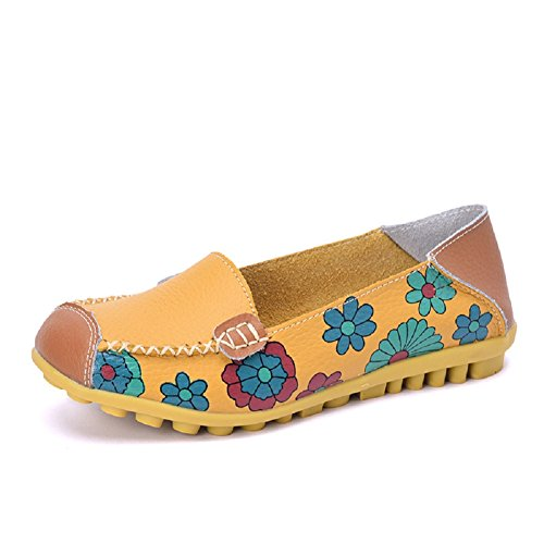 Lazutom Women Lady Vintage Floral Print Driving Loafers PU Leather Slip On Flat Shoes Yellow