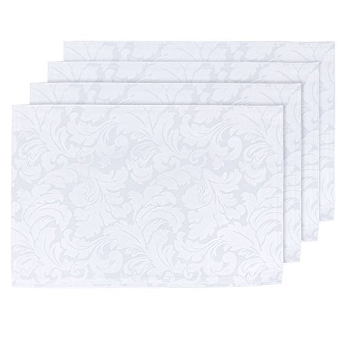 (ColorBird Scroll Damask Jacquard Placemats Waterproof Spillproof Microfiber Fabric Table Place Mat Doily, Set of 4, 13 x 19 Inch, White)