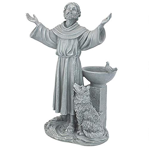 Design Toscano JE14106 St. Francis' Blessing Religious Garden Decor Statue Bath Bird Feeder, 19 Inch, Greystone (Assisi Francis Statue St)