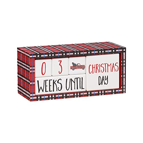 Collins Painting Christmas Countdown Calendar - How Many Sleeps Till Christmas - Wooden Block Holiday Countdown Clock -Countdown to Christmas for Kids and Adults Alike (Red Plaid) (Till Days Christmas Many)