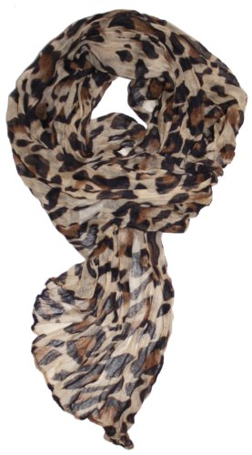 LibbySue-Animal Print Crinkle Leopard Scarf Lightweight in Tan and Brown