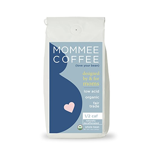 (Mommee Coffee - Half Caff, Low Acid Coffee | Whole Bean, Organic | Fair Trade, Water Processed -)