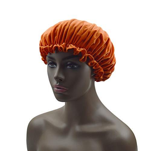 Soft Velvet Sleep Cap - Night Bonnet with Wide Elastic Band for Women
