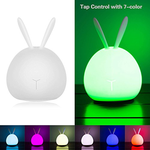 Silicone LED Night Light, ASICEN Cute Baby Kids Children Night Light Soft Silicone Warm Light Tap Control Lamp Rechargeable Bunny Sensor Touch Light Rabbit Gift Toy Night Light(7-color + 4-Brightness) by ASICEN (Image #8)