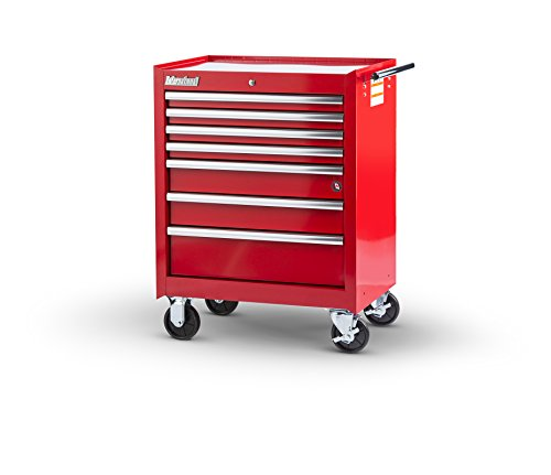 International VRB-2707RD 27-Inch 7 Drawer Red Tool Cabinet with Ball Bearing Drawer Slides - International Tool Chests