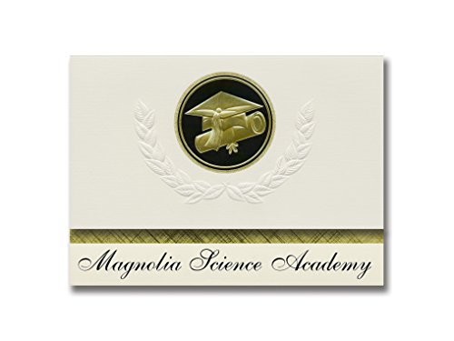 Signature Announcements Magnolia Science Academy (Reseda, CA) Graduation Announcements, Presidential style, Elite package of 25 Cap & Diploma Seal. Black & Gold.
