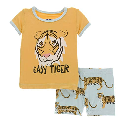 Kickee Pants Little Boys Print Short Sleeve Pajama Set with Shorts - Spring Sky Tiger, -