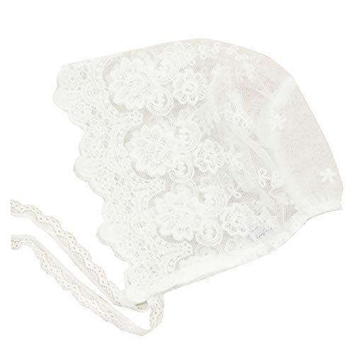 Lace Bonnet - Nihao Baby Baptism Bonnet (F-White Simple Lace Bonnet, 9-12 Months)