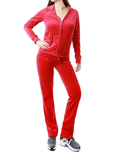 FandS-JO23019 Women's Fashion Hoodie Velour 2 piece Set (SMALL, RED)