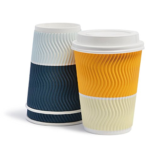 Triple Walled Disposable Coffee Cups With Lids - Wave Insulted Ripple Design For Maximum Insulation - Leak-proof Paper Cup For Coffee, Cocoa & Tea - 12 oz, 50 Pack, Dark Cyan and Golden Yellow (Custard Tumbler)
