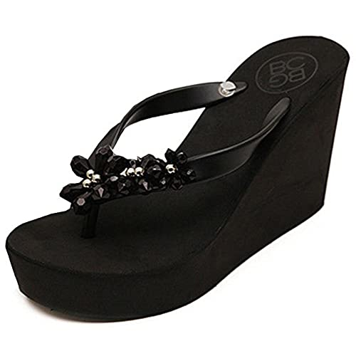 14fc410b8ee IDIFU Women s Sweet Flowers Wedge Platform Thong Sandals Flip Flops With  Heels best