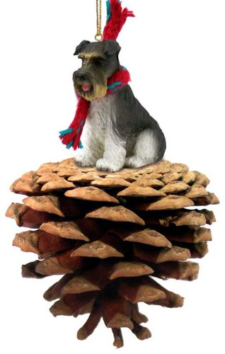 Gray Schnauzer Uncropped Pinecone Christmas Ornament by Conversation Concepts