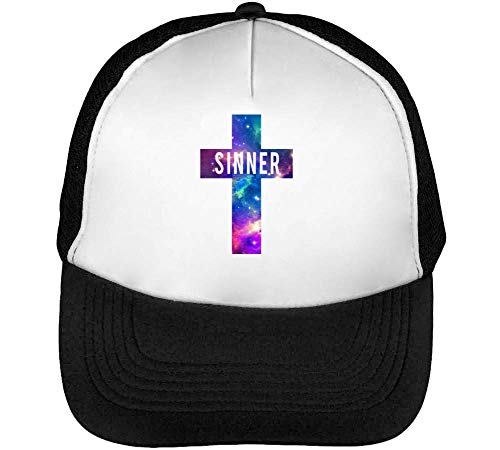 Sinner Beisbol Cosmic Blanco Hombre Gorras Cross Negro Snapback 88XBrx