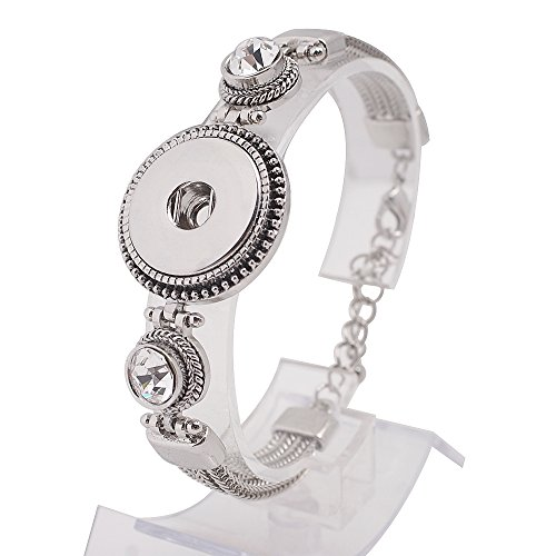 """Snap Jewelry Antique Rhinestone Toggle Bracelet Length 6.25-8.5"""" Holds 18-20mm Standard Snaps My Prime Gifts"""